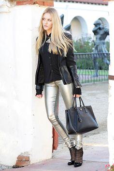 shea marie cheyenne meets chanel fashion blogger blog style parker leather jacket metallic pants denim juicy schutz balenciaga prada shiny2