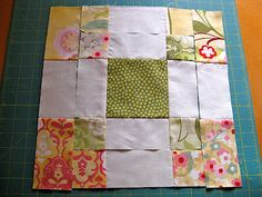 Double disappearing nine patch with charm squares from Teresa Down Under blog.