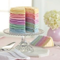 Wilton Spring Colors5-Layer Cake * Perfect for Easter, Spring or Baby Shower! #Easter #Spring #BabyShower