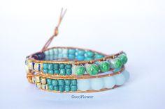Bracelet en cuir turquoise marron wrap 2 tours : Bracelet par cocoflower