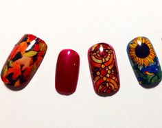 Nail decals FALL COLORS by chachacovers on Etsy