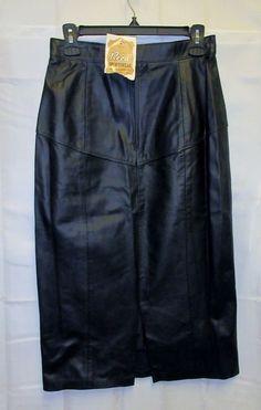 NOS VTG 80's Reed Black Leather Skirt10 Midi27x32 Sexy Slit Wiggle High Waist  #ReedSportswear #WeartoWork