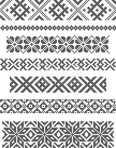 Stock Vector Set Of Borders, Embroidery Cross, Vector Royalty Free Cliparts, Vectors, And Stock Illustration. Diy Embroidery Shirt, Border Embroidery, Bead Embroidery Jewelry, Cross Stitch Embroidery, Embroidery Patterns, Hand Embroidery, Cross Stitch Borders, Cross Stitch Samplers, Cross Stitch Charts