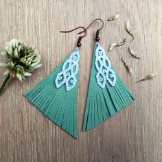 "Turquoise & white chandelier leather and lace Earrings ""Pyramid"" - boho earrings - chandelier earrings - unique jewelry by PinkBlossomHandmade on Etsy"