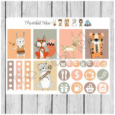 Weekly sticker set - tribal animals - planner stickers by TheRabbitTribe on Etsy