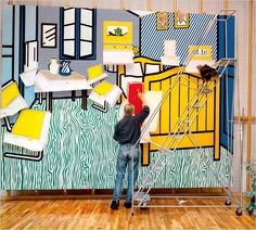 Roy Lichtenstein working on Bedroom at Arles, oil and Magna on canvas painting based on the Bedroom in Arles series of paintings by Vincent van Gogh. Photograph by Laurie Lambrecht, a studio assistant in the early Jasper Johns, Andy Warhol, Vincent Van Gogh, Grandma Moses, Arte Pop, Pop Art, John Singer Sargent, Roy Lichtenstein Art, Dale Chihuly