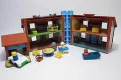 Vitnage Fisher Pricel Family Play house vintage Tudor House toy 80's toy with little people. $49.00, via Etsy.