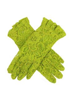 Lime Women's delicate lace gloves with ruffled cuffs for added detail. Composition: Nylon Lining: Unlined Button Length: 4 B/L – These gloves extend approximately 3 inches above the wrist. Lace Gloves, Summer Events, Occasion Wear, Leather Fabric, Cuffs, Delicate, Lady, My Style, Womens Fashion