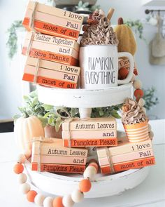 Wooden Books, Painted Books, Stack Of Books, Mini Books, Fall Crafts, Diy Crafts, Farm Holidays, Fallen Book, Dollar Tree Crafts