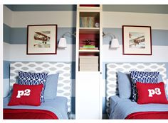 Like the mix of prints & fabric for a boys room.....not loving the tall cupboard a better choice would make this room rock.