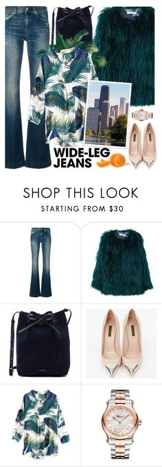 """Denim Trend !"" by euafyl ❤ liked on Polyvore featuring 7 For All Mankind, MANGO, Mansur Gavriel, Louis Vuitton, Chopard, denimtrend and widelegjeans"