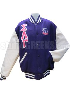 Sigma Lambda Gamma Greek Letter Varsity Letterman Jacket with Crest, Purple with White Sleeves