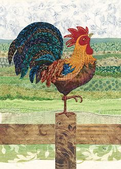 BugArt ~ Cockerel. Amy's Cards *NEW* Original embroideries by Amy Butcher. Cards designed by Jane Crowther.