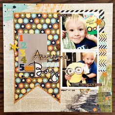 #papercrafting #scrapbook #layout -  Awesome Birthday Boy - Scrapbook.com