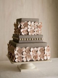 Pretty Metallic Flowers with Pearls Grey Wedding Cake