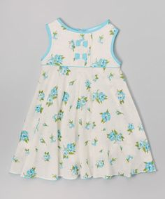 Love this Aqua Rose Bow Babydoll Dress - Infant & Toddler by La Fleur & Le Papillon on #zulily! #zulilyfinds
