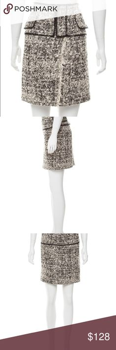 """Proenza Schouler tweed raw edged skirt Proenza Schouler tweed raw edged skirt in cream and black. Crossover slit at front featuring exposed hook and eye closures. Side zip. Size 8. Classic with a twist!  Excellent condition. Length 20"""", waist 34"""". Proenza Schouler Skirts"""