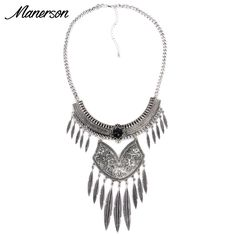 Fashion Women 2016 Small Vintage Silver Leaf Tassel Necklace Pendant Collier Red Gem Cheap Collar Boho Maxi Statement Accesory