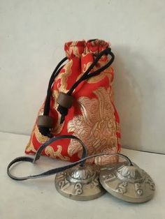 Tingsha Cymbal with Silk Drawstring Bag ~ Handmade in Nepal Nepal Trekking, Buddhism, Handicraft, Bowls, Singing, Spirituality, Silk, Bag, Handmade