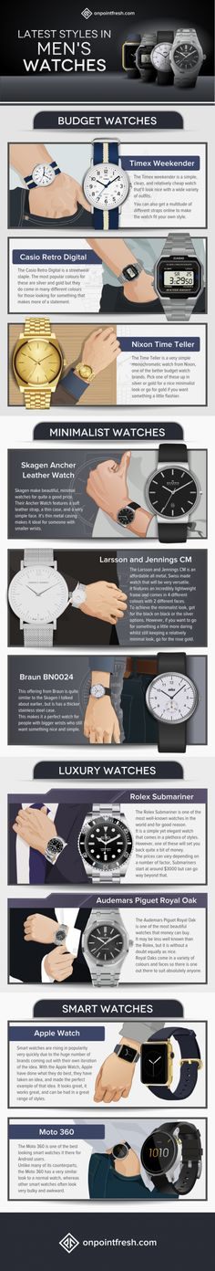 Mens Style Discover The 10 Best Watch Brands For All Budgets [Infographic] Der Gentleman, Gentleman Style, Cool Watches, Watches For Men, Men's Watches, Citizen Watches, Black Watches, Trendy Watches, Timex Watches