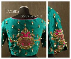 Beautiful designer blouse with swan design hand embroidery gold and pink thread. Designer blouse with hand embroidery pearl hangings. Wedding Saree Blouse Designs, Saree Blouse Neck Designs, Bollywood, Embroidery Fashion, Hand Embroidery, Embroidery Blouses, Maggam Work Designs, Stylish Blouse Design, Designer Blouse Patterns