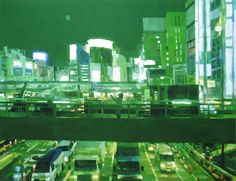 """Shintaro Ohata is an artist who depicts little things in everyday life like scenes of a movie and captures all sorts of light in his work with a unique touch: convenience stores at night, city roads on rainy day and fast-food shops at dawn etc. His paintings show us ordinary sceneries as dramas. He is also known for his characteristic style; placing sculptures in front of paintings, and shows them as one work, a combination of 2-D and 3-D world."""