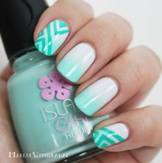 Soft Aqua Gradient & Geometric Lines. The white is OPI My Boyfriend Scales Walls with Island Girl Surfer Babe on the tips.