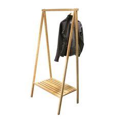 Folding wooden clothing rack