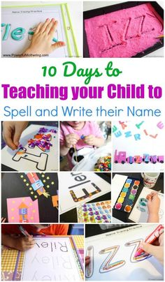 Teaching your child to recognize, spell and write their name can be a daunting task for new parents. For the next 10 days I am going to share simple activities, games and printables that will Name Activities Preschool, Preschool Learning Activities, Toddler Learning, Toddler Preschool, Preschool Activities, Home School Preschool, Homeschool Preschool Curriculum, Teaching Kids To Write, How To Teach Kids