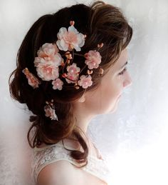 blush pink hair flower bridal hair accessory by thehoneycomb, $105.00