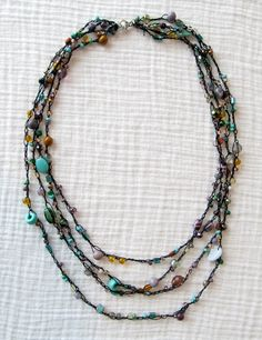 Crochet Beaded Necklace Tutorial dixiebellegifts.com