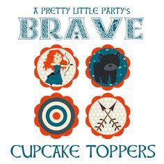 Valiente toppers de pastel para tu fiesta muy poco! {SÓLO ARCHIVOS DIGITALES}    Coordinar perfectamente con nuestros valientes invitaciones: