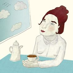 """day dream"" – take a break, have a nice cup of tea and happy dreams! | by dutch artist / illustrator Nelleke Verhoeff"