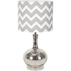 Silver glass table lamp with chevron shade. Product: LampConstruction Material: Glass and fabricColor: Silver and whiteAccommodates: Lightbulb - not includedDimensions: 28 H x 14 Diameter My Home Design, Home Interior Design, House Design, Design Interiors, Chevron Table, Gray Chevron, Mercury Glass, Drum Shade, Joss And Main