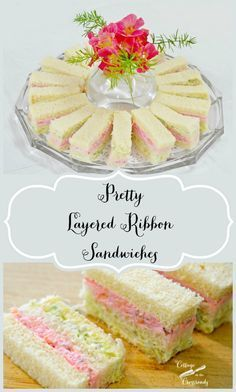 Pretty Layered Ribbon Sandwiches: 20 ounces cream cheese, softened ~ 2 ounce) cans crushed pineapple, drained ~ 1 cup pecan pieces, chopped very finely ~ 3 sticks butter, whipped ~ 2 loaves of white sandwich bread ~ pink and green food colouring Simply Yummy, Fingerfood Party, Party Nibbles, Finger Sandwiches, Baby Shower Sandwiches, Afternoon Tea Parties, Afternoon Tea Recipes, Le Diner, Snacks