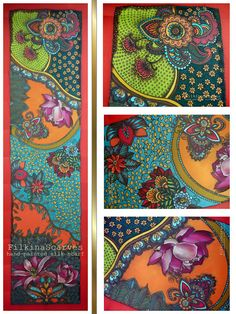 Hand Painted Silk Scarf Orange Red Blue Lilies Paisley Mandala