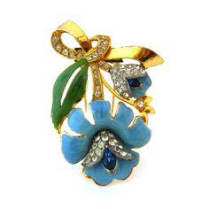 CORO Lotus Flower Blue Enamel Fur Clip