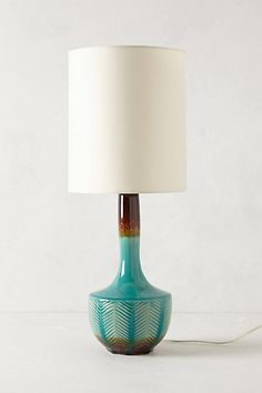 Fern Fossil Lamp Ensemble   #anthropologie porcelane with hardbacked polyester shade base: 14in h, 7 in diam shade: 10in h, 12 in diam
