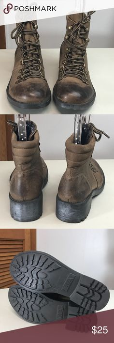 """MIA Brown Distressed Women's Combat Boots MIA Brown Distressed Women's Combat Boots with 8 lace up brass hoops and hooks with 2 tone round shoe strings. Padded in back of ankle. Boots have a 1.5"""" black heel with good treads. NWOT. Soft Mia Shoes Combat & Moto Boots"""