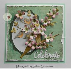I love dogwood trees.  Today I used Susan's Garden Dogwood die set along with the Love Birds die set to create this card. Two Dogwood branches, and enough flowers to fill them, were die cut using the
