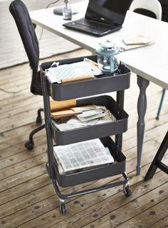 RÅSKOG roltafel | #IKEA #DagRommel #opberger #wielen #grijs #kast #werkplek