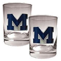 University of Michigan Wolverines Rock Glass Set of Two