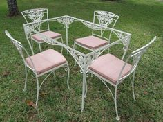 Vintage Wrought Iron Patio Table Set Furniture Outdoor