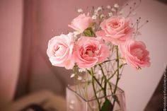 Pink roses, baby's breath in a simple square vase-simple perfect beauty