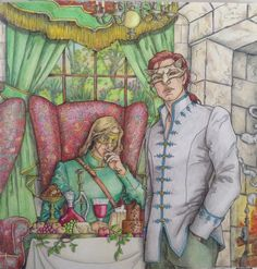 Tamlin & Lucien. Spring Court. High Fae. A Court of Thorns & Roses. ACOTAR. Colouring book. SJM.