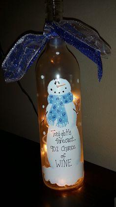 Painted wine bottle funny Christmas gift by KarensWineSeller