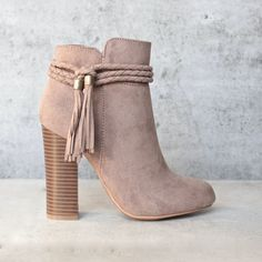 vegan suede 'enchanted' tassel detail bootie - more colors - shophearts - 1 Ankle Boots, Heeled Boots, Bootie Boots, Shoe Boots, High Boots, Women's Shoes, Cute Shoes, Me Too Shoes, Black Suede Boots