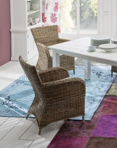 Nova Solo Wickerworks Bishop Natural Grey Rattan Dining Chair with cushion (Pair)