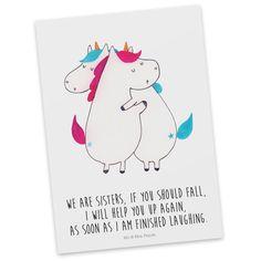 Postkarte Unicorn Umarmen aus Karton 300 Gramm  weiß - Das Original von Mr. & Mrs. Panda.  Diese wunderschöne Postkarte aus edlem und hochwertigem 300 Gramm Papier wurde matt glänzend bedruckt und wirkt dadurch sehr edel. Natürlich ist sie auch als Geschenkkarte oder Einladungskarte problemlos zu verwenden. Jede unserer Postkarten wird von uns per hand entworfen, gefertigt, verpackt und verschickt.    Über unser Motiv Unicorn Umarmen  Die umarmenden Einhörner sind das ultimative Geschenk für…