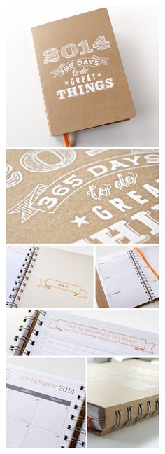 2014 Planner | Medium Agenda Calendar with Weekly & Monthly Layouts | Screen Printed Cover | Cute 2014 Planner